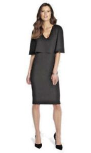CAPE-OVERLAY-PLUNGE-DRESS-colour-BLACK-UK-SIZE-12-bnwt-by-CLUB-L-new