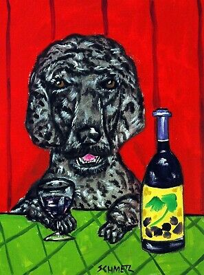 Poodle wine 8x10  artist prints animals impressionism gift new
