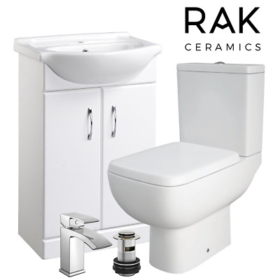 RAK SERIES 600 TWO-PIECE BATHROOM SUITE CLOSE COUPLED TOILET WASH BASIN SINK TAP