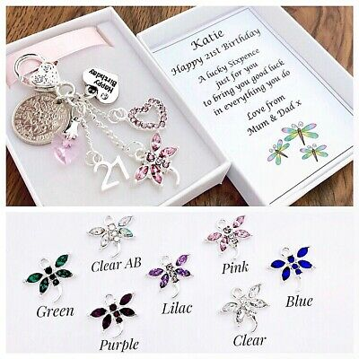 16TH 18TH 21ST BIRTHDAY GIFT CLEAR DRAGONFLY LUCKY SIXPENCE IN A GIFT BOX