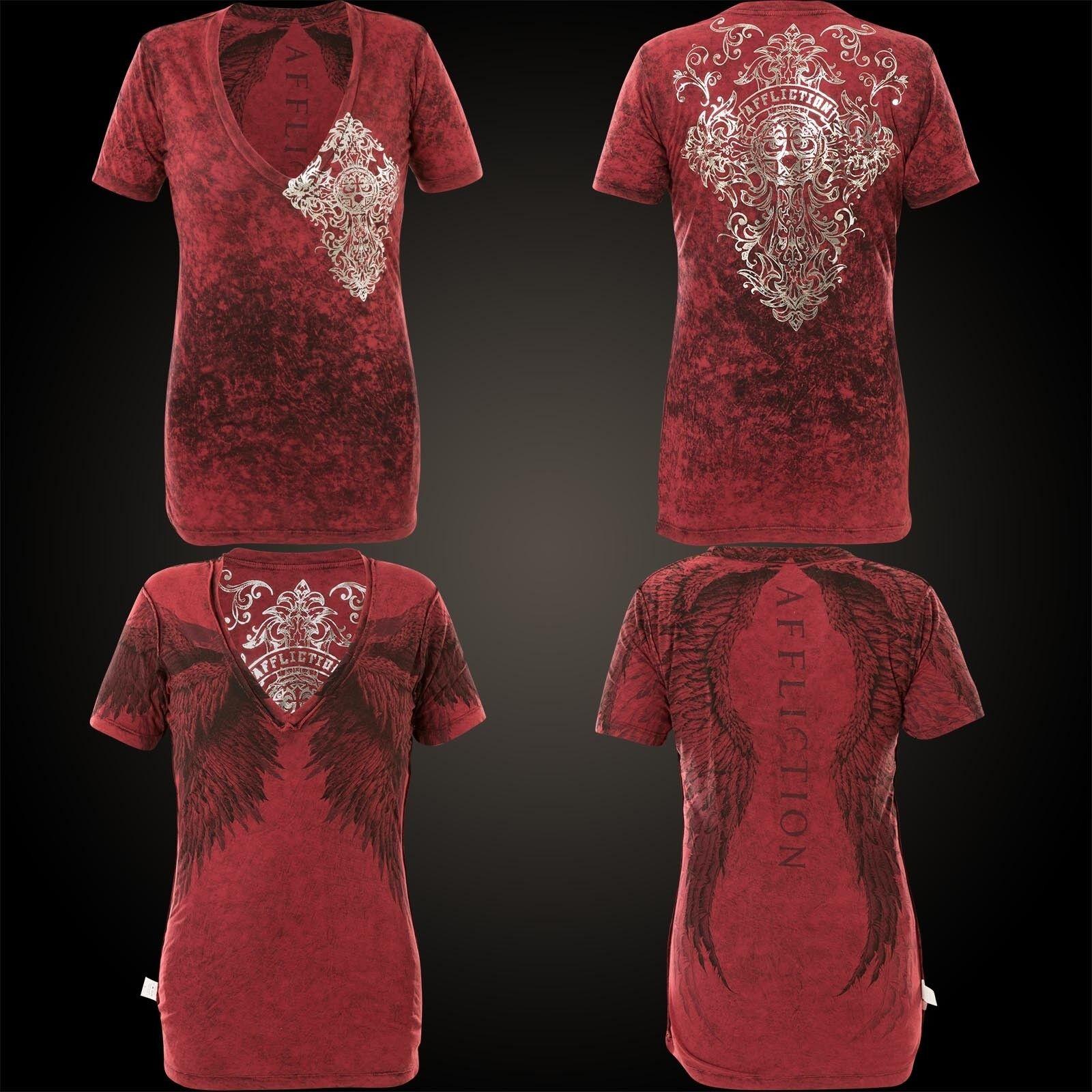 Affliction Damen T-shirt de métaux précieux Rev. rot
