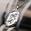 Saint-St-Christopher-Medal-Protect-Us-Oval-Silver-Plated-Pendant-Necklace miniature 2