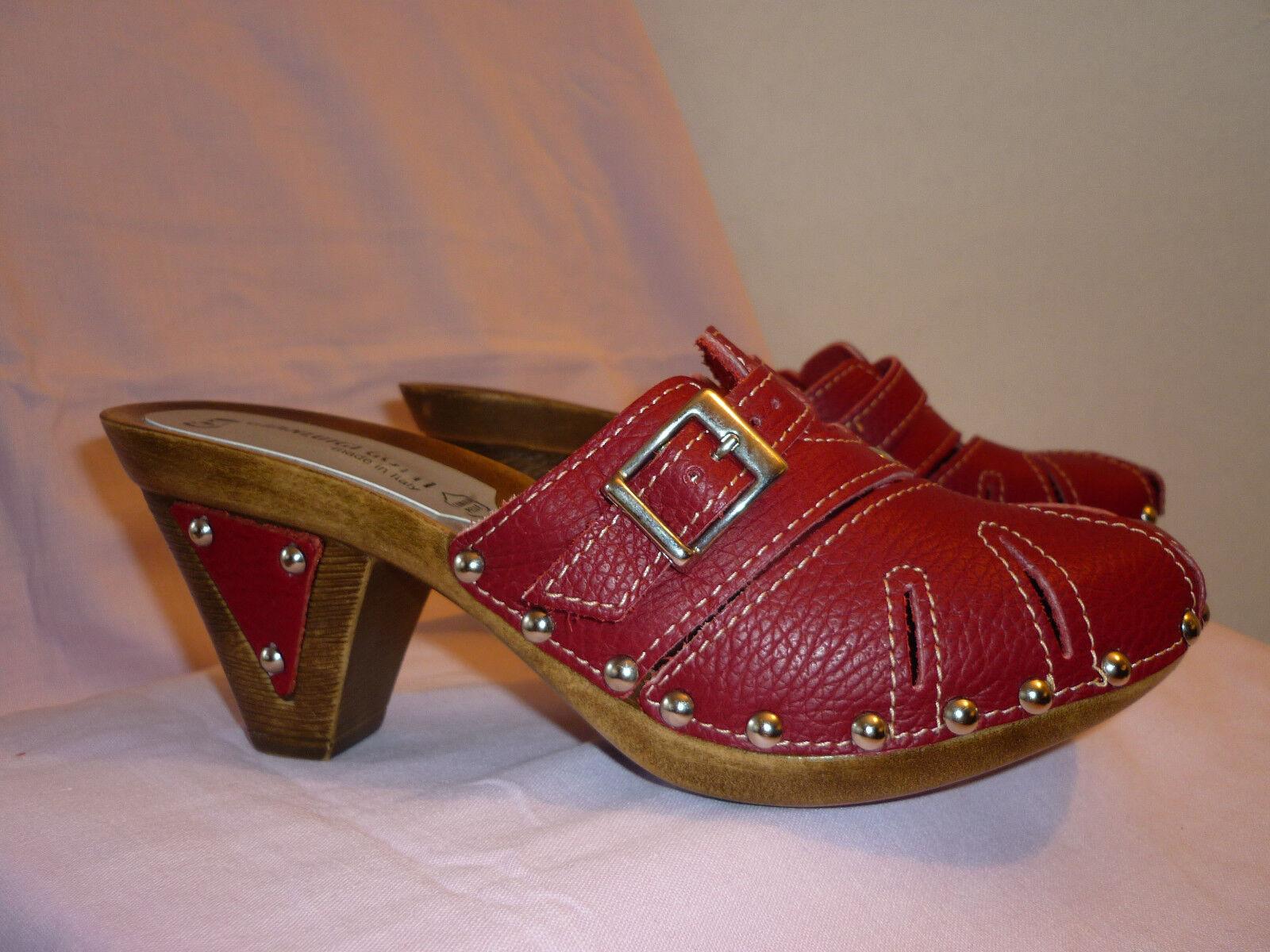 NEU  Gianluigi Gotti-extravagante wein-rote Pantolette Leder m.Nieten Gr.37 Abs.