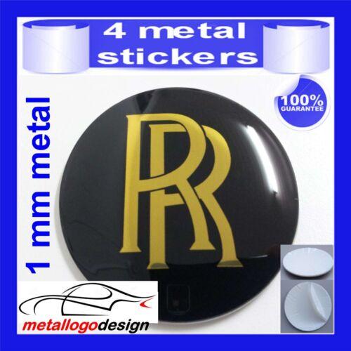 METAL STICKERS WHEELS CENTER CAPS Centro LLantas 4pcs ROLLS ROYCE 3 gold