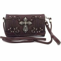 Vintage Cross Wristlet Wallet Croc Skin Long Strap Cross Body Small Purse Brown