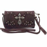Vintage Cross Wristlet Wallet Croc Skin Long Strap Cross Body Small Purse Brown