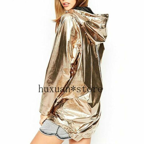 Details about  /Spring Coat Long Sleeve Jacket Gold Pink Red PVC Raincoat Zipper Punk Waterproof