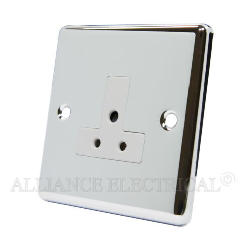 Chrome poli classique round pin 2 AMP 1 Gang Lampe outlet 5 amp socket