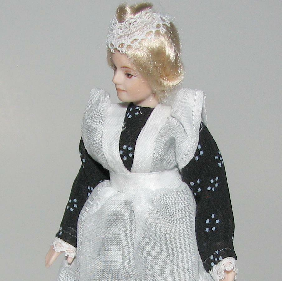 Dollhouse Dressed Lady Doll Erna Meyer 8792 Maid Porcelain Head Blk Wh Miniature