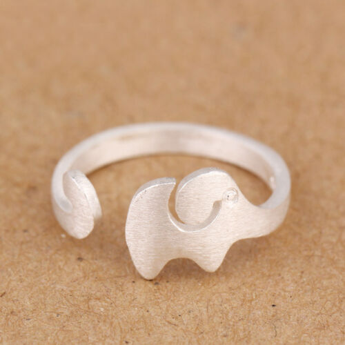 ELBLUVF 925 Sterling Silver Adjustable Animal Elephant Ring Knuckle Jewelry
