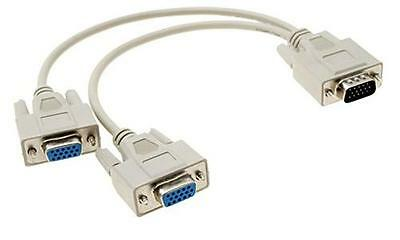 1 PC to 2 Monitor VGA SVGA Y Splitter Cable Lead 2 Way