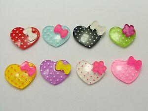 25-Mixed-Color-Resin-Polka-Dots-Heart-Cabochon-18X15mm-For-Scrapbook-Hair-Bows