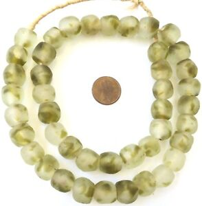Ghana-Handmade-Clear-Havana-Krobo-recycled-Glass-African-trade-Beads-Ghana