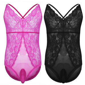 7beff6149e54 Men s Sexy sissy Lingerie Crossdress Thong Bodysuit Leotard Jumpsuit ...