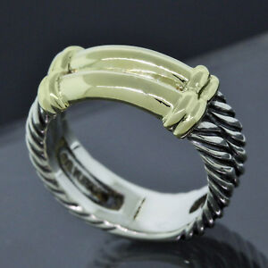 David Yurman 14k Gold 925 Sterling Silver Classic Double Cable Band Ring Size 6 Ebay