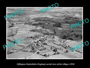 OLD-LARGE-HISTORIC-PHOTO-UFFINGTON-OXFORDSHIRE-ENGLAND-TOWN-AERIAL-VIEW-c1950-1