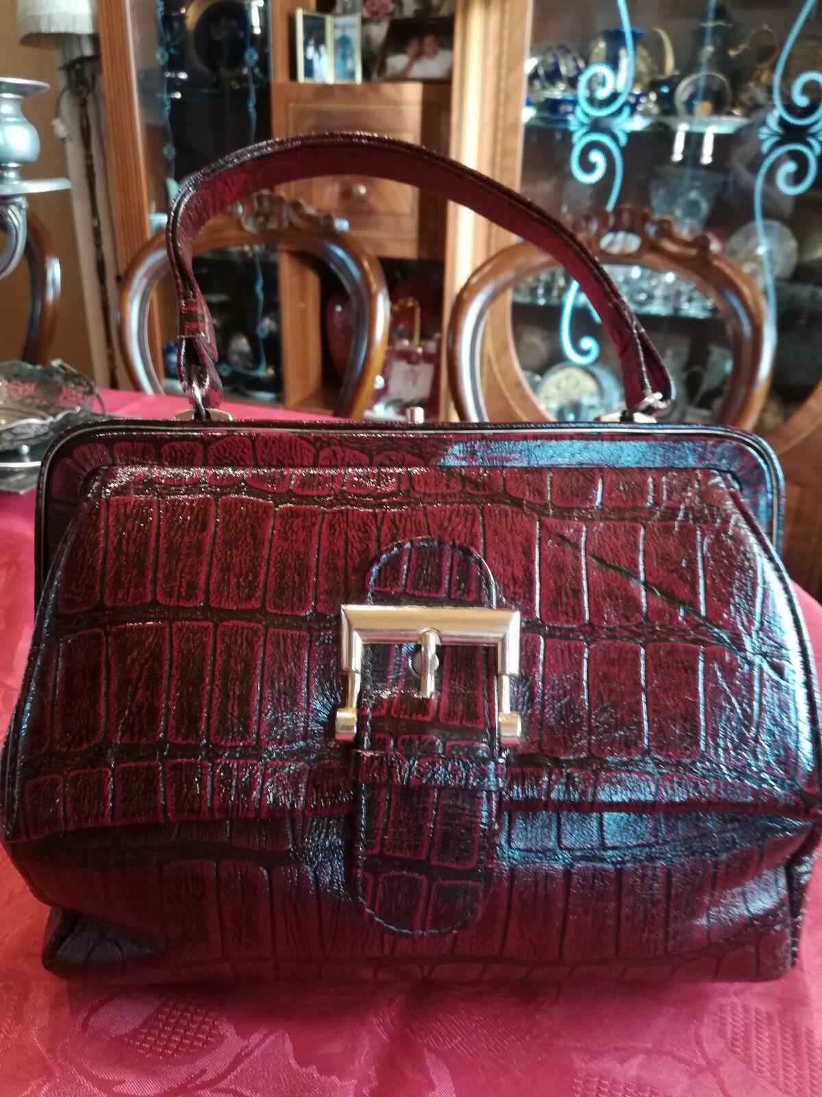 Damentasche Handtasche Bordo Bordo Bordo Braun Prägung Muster Vintage Top Zustand | Preiszugeständnisse  | Bekannt für seine gute Qualität  | Sehr gute Qualität  | Kaufen Sie beruhigt und glücklich spielen  32d4c6