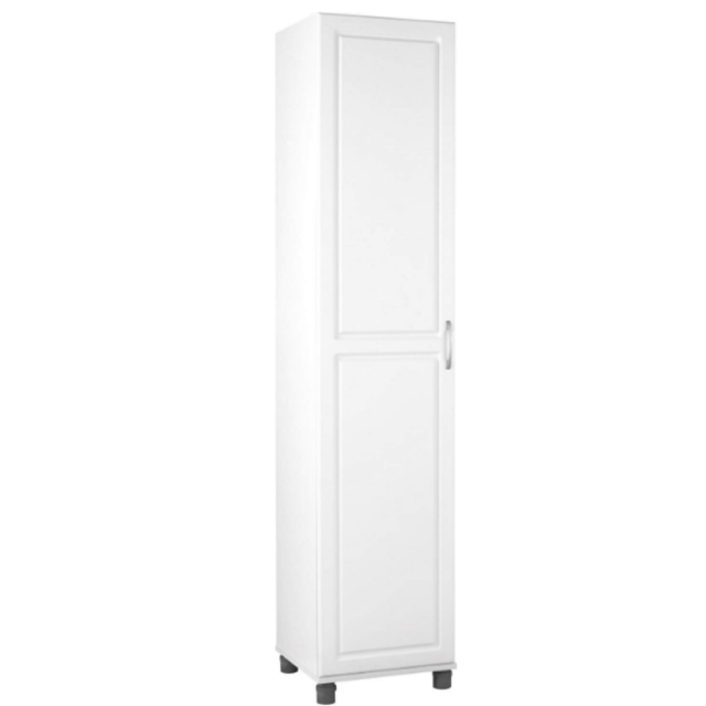 Tall Storage Cabinet Pantry Kitchen Bathroom Floor Narrow Furniture White