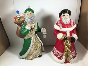 Pair of Vintage Father Christmas Santa Traditional Figurines 10""