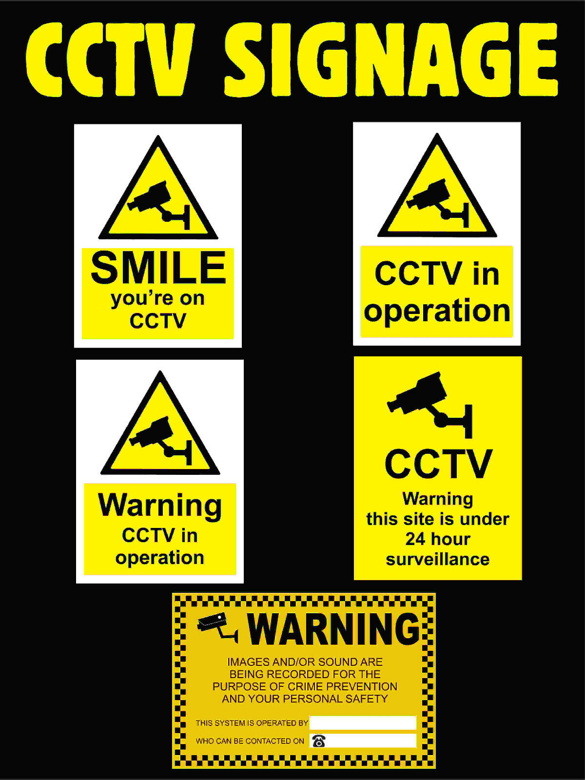 CCTV Security Camera Plastic Sign, Stickers, All Materials - Choose Your Design