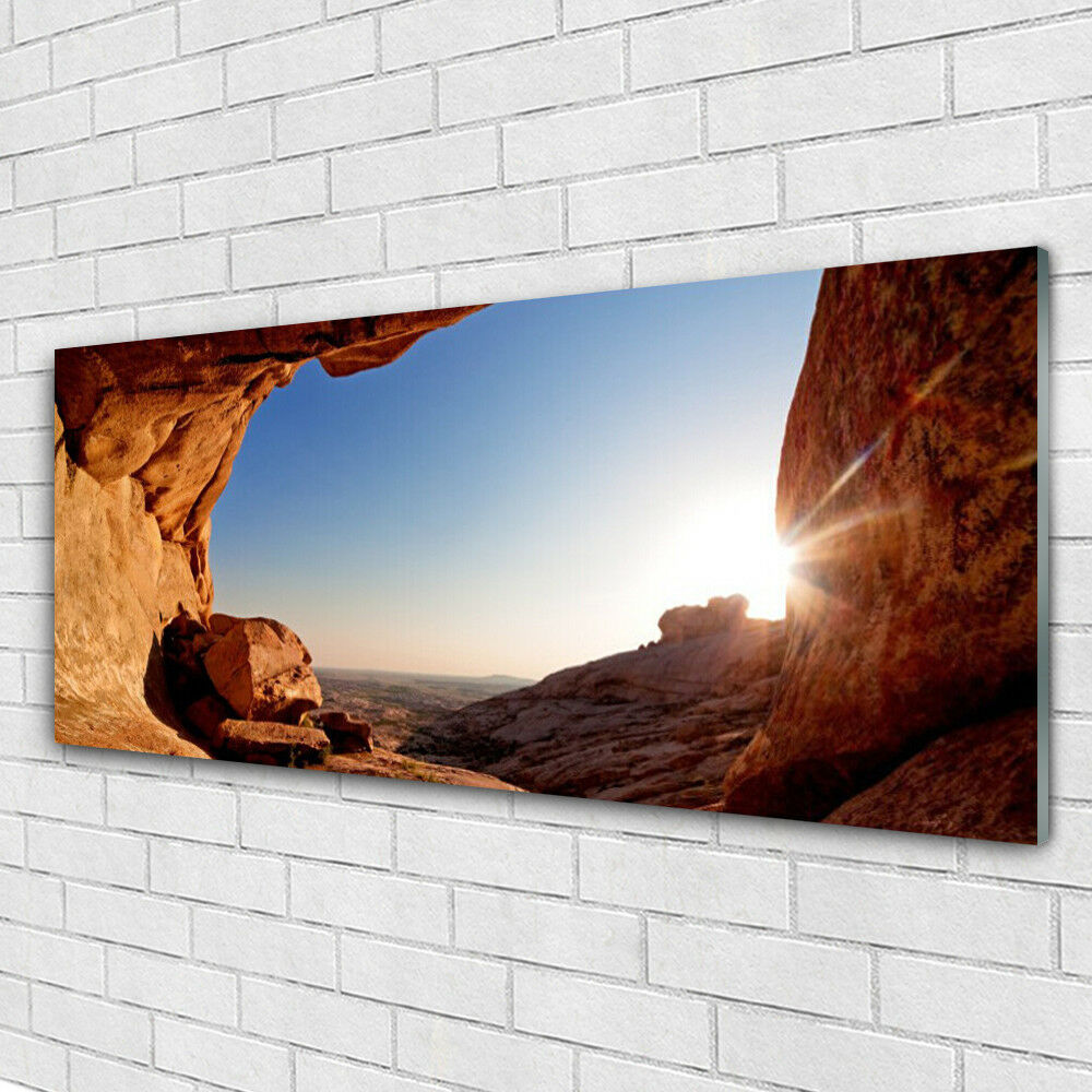 Acrylglasbilder Wandbilder aus Plexiglas® 125x50 Felsen Sonne Landschaft