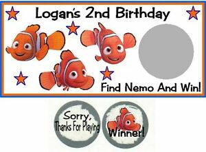 10 Finding Nemo Birthday Party Baby Shower Scratch Off Game Card Lottery Tickets