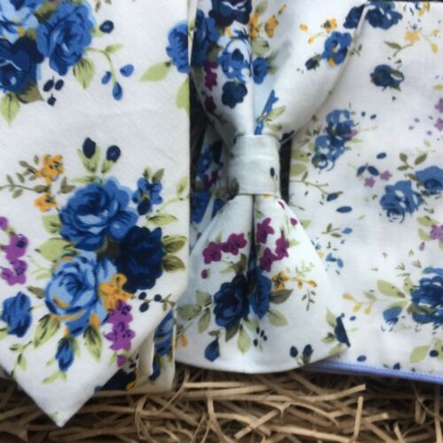 Bow Tie and Pocket Square perfect for weddings UK Blue Mens Floral Tie