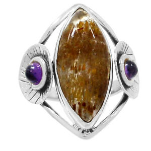 Cacoxenite-amp-Amethyst-925-Sterling-Silver-Ring-Jewelry-s-8-5-RR204134