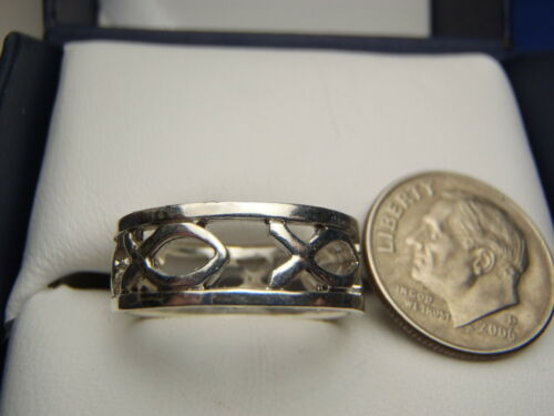 Sterling Silver CUTOUT Continuous Ichthus Fish Ring BAND 2.7 Gram SIZE 6 3//4