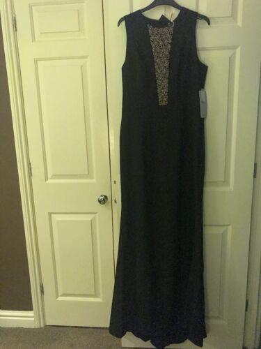 Js Svart panel kjole Ermeløs Størrelse 16 samlinger med pyntet RRU1qw