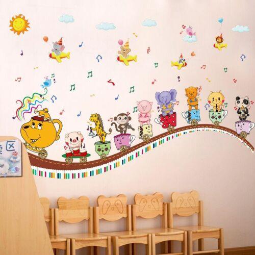Animals DIY Music Wall Sticker for Kids Baby Room Nursery Home Decor Mural Art