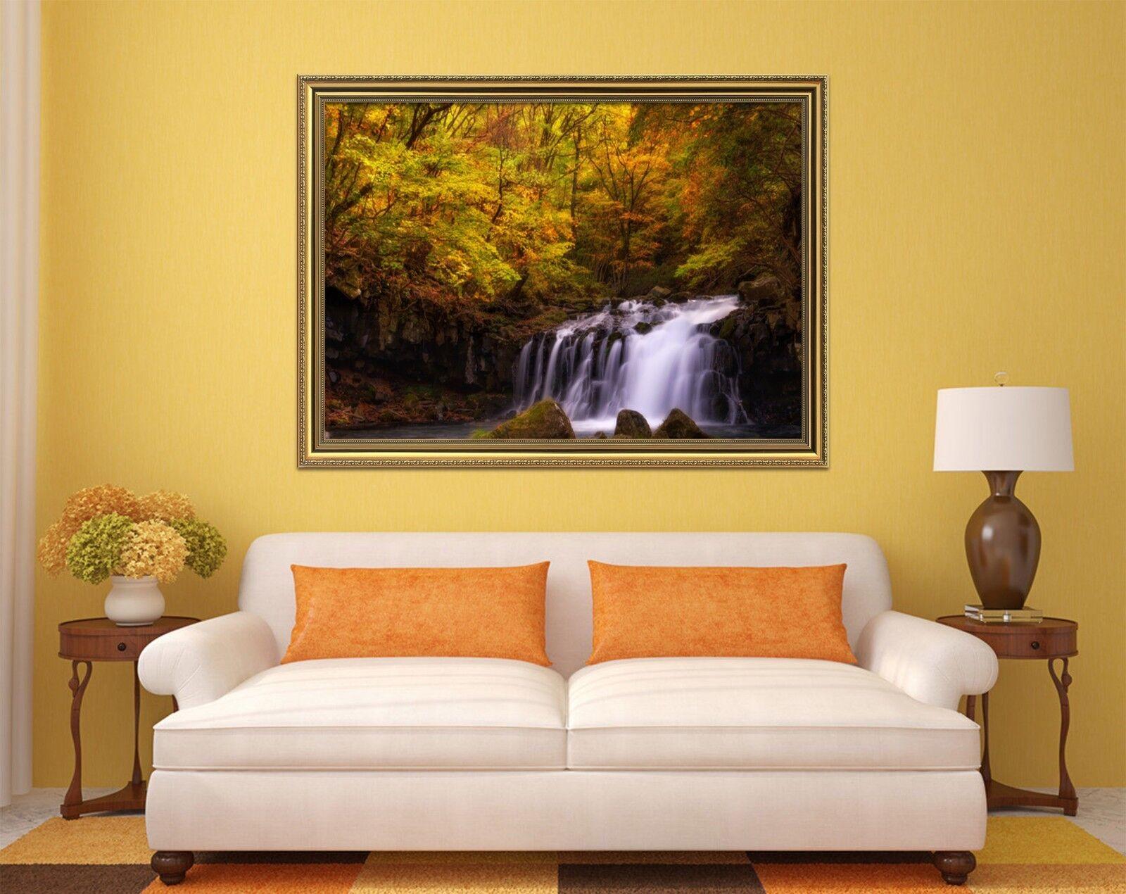 3D Póster Enmarcado Cascada Bosque vista 2 Decoración del Hogar Pintura de Impresión Arte Wallpaper