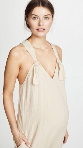 Hatch Maternity Women's THE NOA JUMPER Sand Linen Blend Size 3 NEW LRG//12