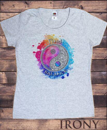 Find Balance Zen Print TS1330 Women/'s White T-Shirt Beautiful Yin Yang