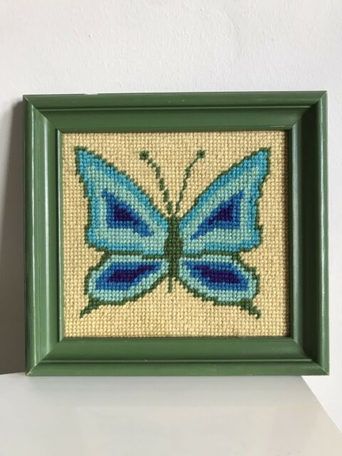 vtg Retro NEEDLEPOINT FINISHED Complete Framed Butterfly Blue Green 70s