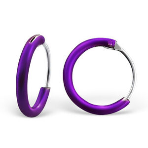 9c21a96493d Image is loading 925-Sterling-Silver-Purple-Sleeper-Hoop-Earrings-Kids-