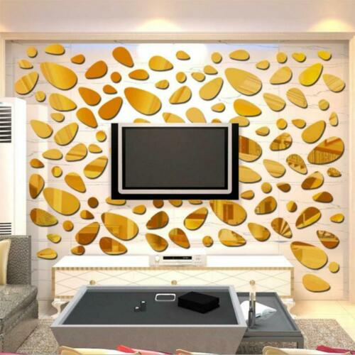 3D Mirror Tiles Mosaic Wall Stickers Self Adhesive Bedroom Art Decals Home Deco
