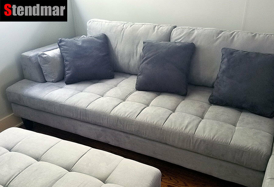 3 Pc Modern Grey Microfiber Sectional Sofa Set S168rg For Sale