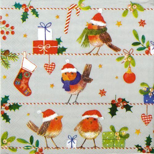 4x serviettes en papier pour découpage DECOPATCH Craft Merry Little X-MAS Gris