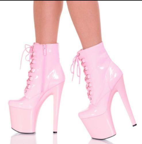 Sexy Femmes Plateforme Cuir Verni Bottines Talon Haut Stilettos Chaussures Sz35-43