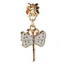 2PCS 18K gilded dragonfly LAMPWORK fit European Charm Bracelet pendant Chain