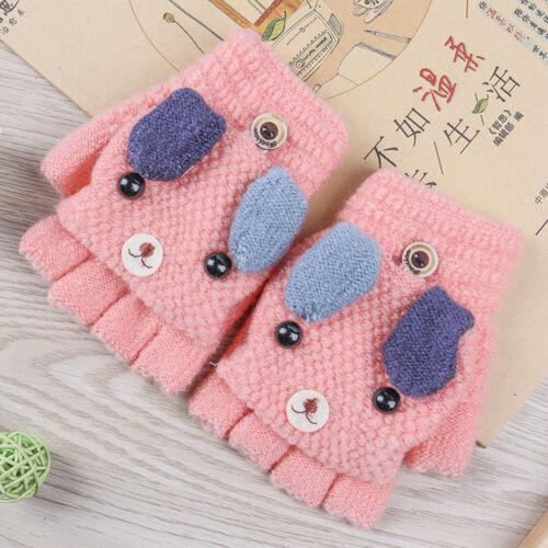 Boys Girl Knitted Gloves 2 in1 Fingerless Mittens Gloves Winter Warm Gloves UK