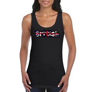 British Union Jack UK Girls Women/'s Ladies Tank Top Vest T Shirt Black
