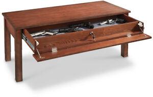 Details about Locking Gun Concealment Coffee Table Safe Storage Hidden  Weapon Hide Living Room