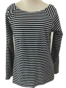 Lauren-Ralph-Lauren-knit-top-Size-XL-black-white-stripe-long-sleeve