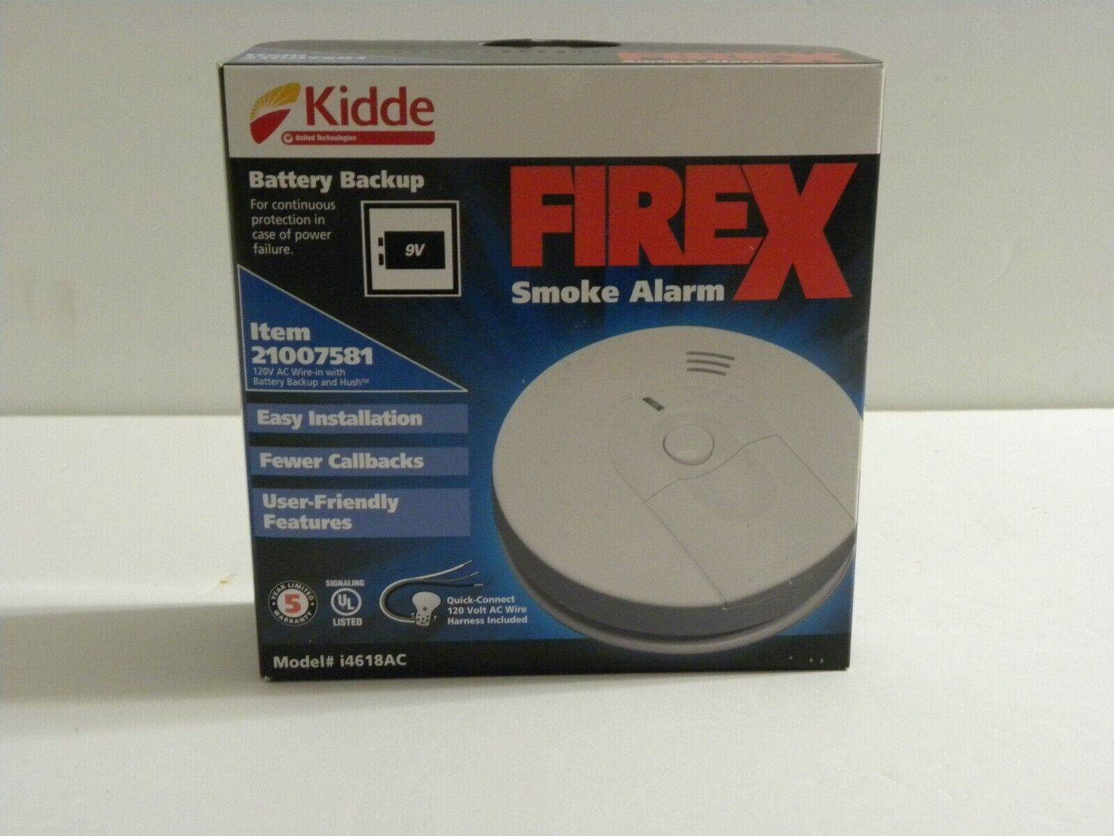 FireX i4618AC 21007581 120V AC Wire-In With Battery Backup /& Hush Smoke Alarm
