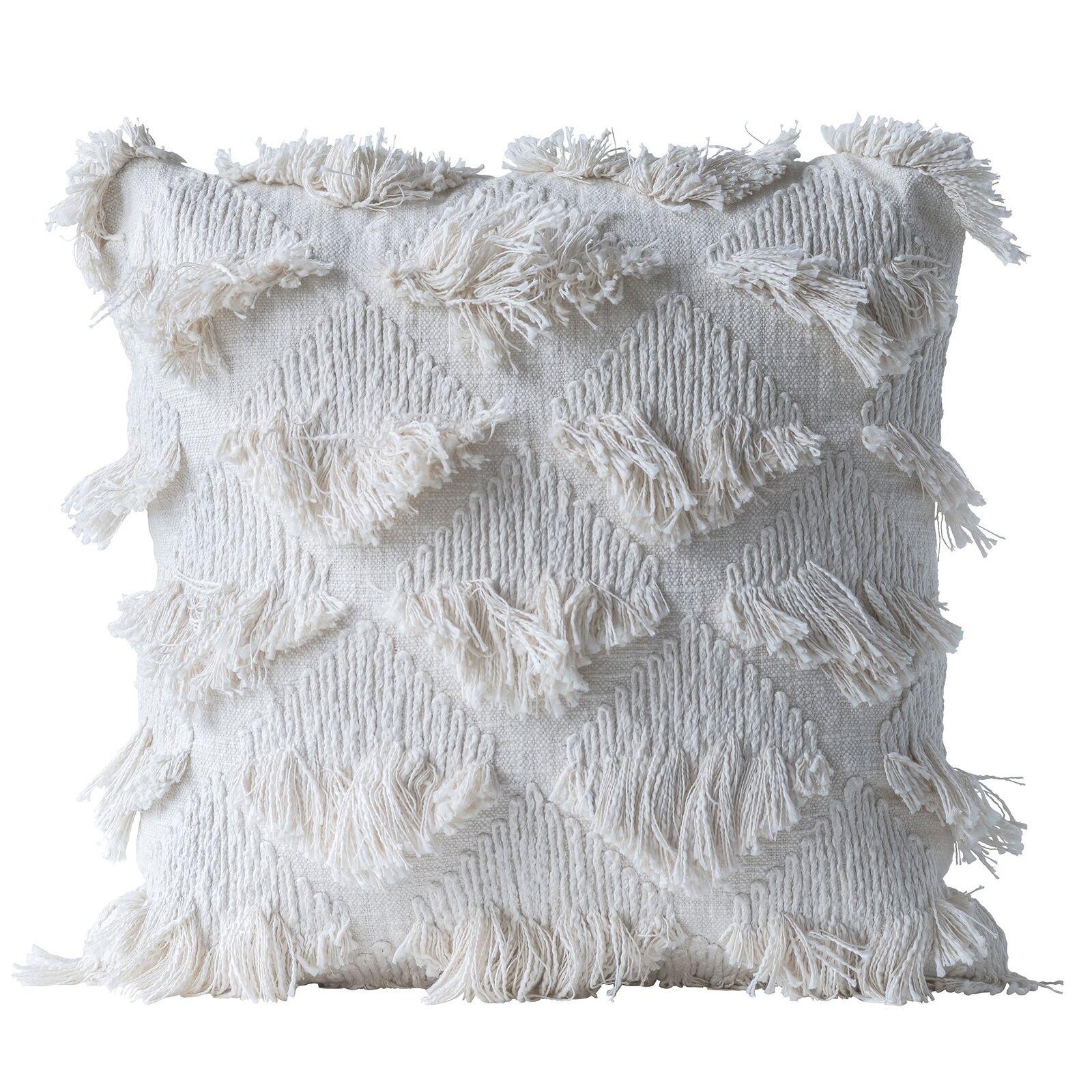 Bloomingville Kissen Boho Fransen in Weiß, L55xB55 cm