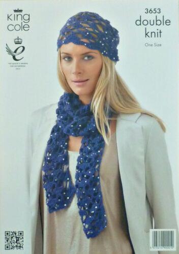 CROCHET PATTERN Ladies Lacy Hat /& Scarf DK King Cole 3653