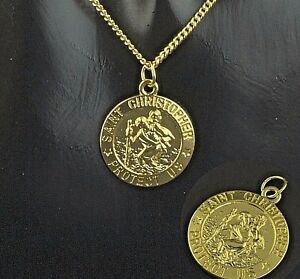 NEW-Gold-Plated-st-Christopher-Pendant-Mens-Chain-Womens-Necklace-16-034-to-30-034