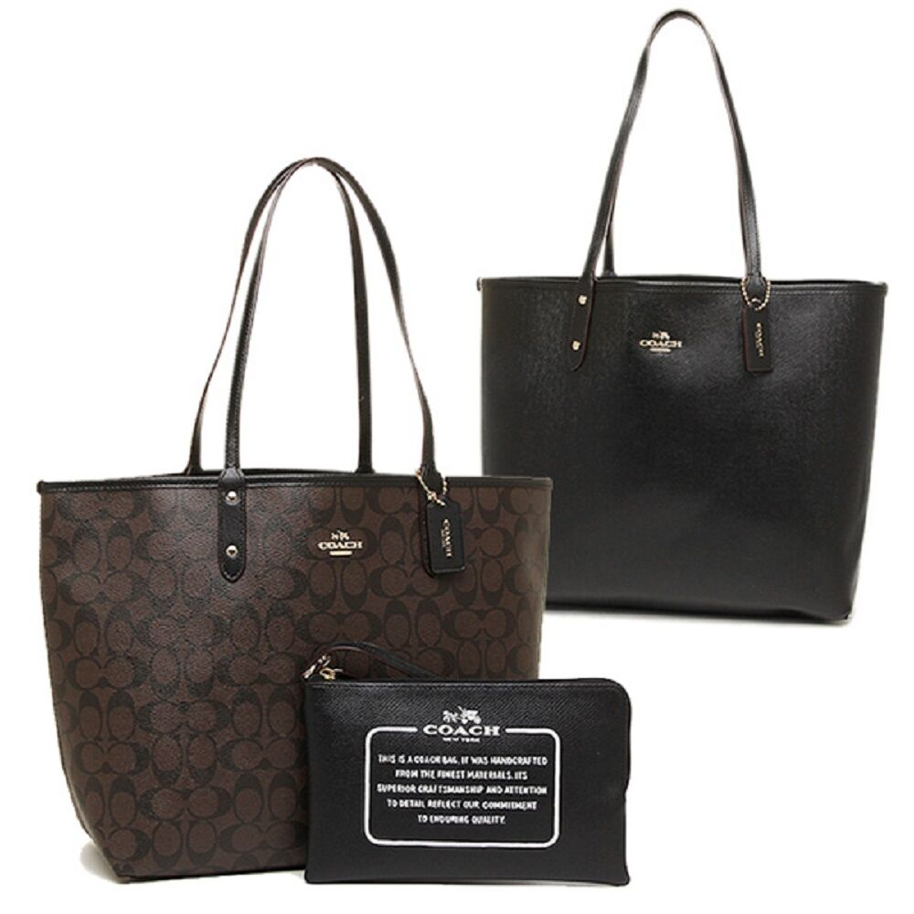 new coach f36658 reversible city tote in signature brown black nwt 889532668014 ebay. Black Bedroom Furniture Sets. Home Design Ideas